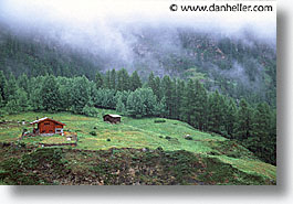 europe, fog, horizontal, houses, switzerland, trees, photograph