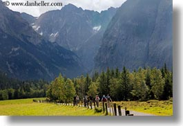 europe, gasterntal valley, hikers, horizontal, kandersteg, mountains, switzerland, trees, photograph