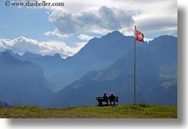 benches, clouds, couples, emotions, europe, flags, horizontal, kandersteg, lake oeschinensee, men, nature, people, sky, solitude, swiss, switzerland, womens, photograph