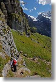 europe, hikers, hiking, kandersteg, lake oeschinensee, mountains, nature, people, snowcaps, switzerland, vertical, photograph