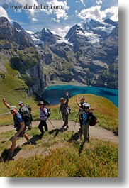clouds, emotions, europe, happy, hikers, kandersteg, lake oeschinensee, lakes, mountains, nature, oeschinensee, people, sky, smiles, snowcaps, switzerland, vertical, photograph