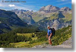 europe, hikers, horizontal, kandersteg, lake oeschinensee, landscapes, mark, men, mountains, people, switzerland, photograph