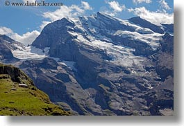 clouds, europe, grassy, horizontal, kandersteg, lake oeschinensee, landscapes, mountains, nature, sky, snowcaps, switzerland, photograph