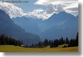 clouds, europe, grassy, horizontal, kandersteg, lake oeschinensee, landscapes, mountains, nature, sky, switzerland, photograph