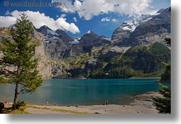 clouds, europe, horizontal, kandersteg, lake oeschinensee, lakes, mountains, nature, people, sky, snowcaps, switzerland, photograph