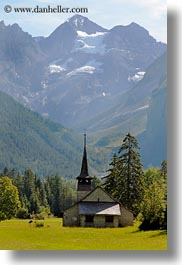 churches, europe, kandersteg, mountains, nature, scenics, snowcaps, switzerland, vertical, photograph