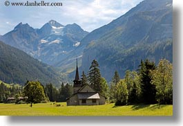 churches, clouds, europe, horizontal, kandersteg, mountains, nature, scenics, sky, snowcaps, switzerland, photograph