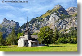 churches, clouds, europe, horizontal, kandersteg, mountains, nature, scenics, sky, switzerland, photograph