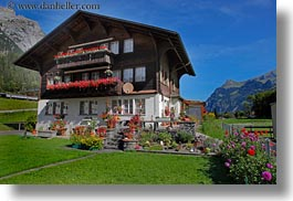 europe, flowers, horizontal, houses, kandersteg, scenics, switzerland, photograph