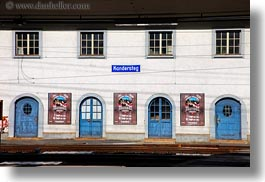 doors, europe, horizontal, kandersteg, scenics, stations, switzerland, trains, photograph