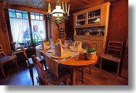 dining, europe, horizontal, kandersteg, switzerland, tables, wald hotel doldenhorn, photograph