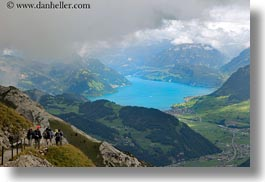 europe, hikers, horizontal, lakeview, lucerne, mt pilatus, switzerland, photograph