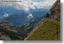 clouds, europe, hikers, horizontal, lucerne, mt pilatus, nature, sky, switzerland, valley, photograph