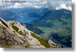 clouds, europe, horizontal, lakeview, lucerne, mt pilatus, nature, red, sky, switzerland, trains, tram, photograph