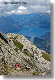 clouds, europe, lakeview, lucerne, mt pilatus, nature, red, sky, switzerland, trains, tram, vertical, photograph
