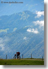 bicycles, europe, lucerne, mountains, mt rigi, riders, switzerland, vertical, photograph