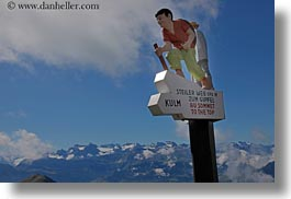directional, europe, hikers, horizontal, lucerne, mountains, mt rigi, nature, signs, snowcaps, switzerland, photograph