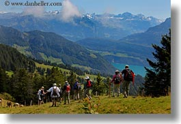 clouds, europe, hikers, hiking, horizontal, landscapes, lucerne, mt rigi, nature, people, sky, switzerland, photograph