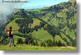 europe, hikers, hiking, horizontal, landscapes, lucerne, men, mt rigi, people, switzerland, photograph