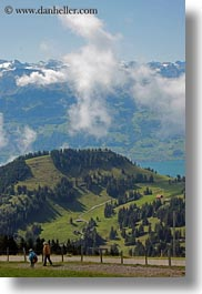 clouds, europe, hikers, hiking, landscapes, lucerne, mt rigi, nature, people, sky, switzerland, vertical, photograph