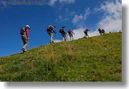 clouds, europe, fog, hikers, hiking, horizontal, lucerne, mt rigi, nature, people, sky, switzerland, uphill, photograph