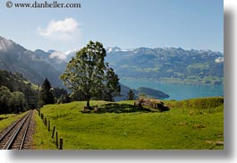 europe, horizontal, lucerne, mountains, mt rigi, railroad, switzerland, tracks, photograph