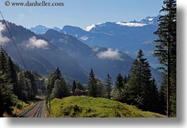 europe, horizontal, lucerne, mountains, mt rigi, nature, railroad, snowcaps, switzerland, tracks, photograph