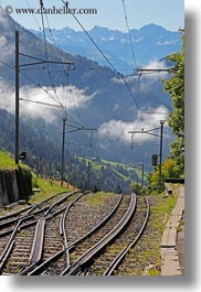europe, lucerne, mountains, mt rigi, railroad, switzerland, tracks, vertical, photograph