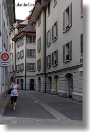colorful, europe, lucerne, monochrome, people, streets, switzerland, vertical, womens, photograph