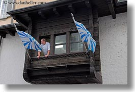 cooks, europe, flags, horizontal, lucerne, people, switzerland, windows, photograph