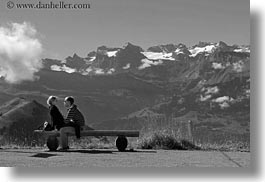 black and white, clouds, content, couples, emotions, europe, happy, horizontal, lovers, lucerne, men, mountains, nature, people, romantic, sky, snowcaps, switzerland, womens, photograph