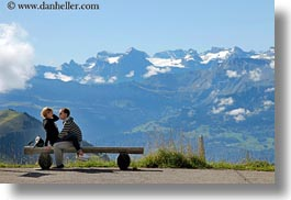 clouds, content, couples, emotions, europe, happy, horizontal, lovers, lucerne, men, mountains, nature, people, romantic, sky, snowcaps, switzerland, womens, photograph