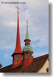 churches, clocks, europe, lucerne, steeples, switzerland, towns, vertical, photograph