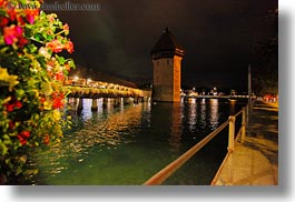 bridge, covered, covered bridge, europe, flowers, horizontal, lucerne, nite, structures, switzerland, towns, photograph