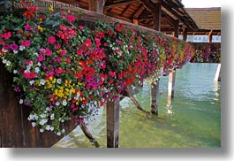 bridge, covered, covered bridge, europe, flowers, horizontal, lucerne, structures, switzerland, towns, photograph