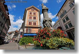 buildings, clouds, europe, flowers, fountains, horizontal, lucerne, nature, sky, switzerland, towns, photograph