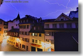 europe, horizontal, lightning, long exposure, lucerne, switzerland, towns, photograph