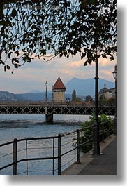 bridge, covered bridge, europe, lucerne, rivers, structures, switzerland, towers, towns, vertical, photograph
