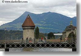 bridge, clouds, covered bridge, europe, horizontal, lucerne, nature, rivers, sky, structures, switzerland, towers, towns, photograph