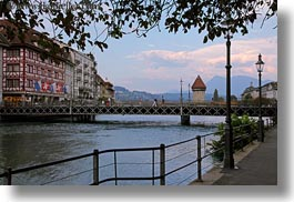 bridge, covered bridge, europe, horizontal, lucerne, rivers, structures, switzerland, towers, towns, photograph