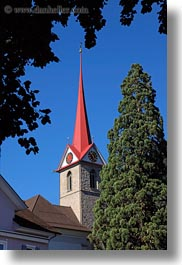 churches, europe, lucerne, steeples, switzerland, trees, vertical, weggis, photograph
