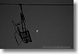 black and white, chairlift, europe, horizontal, moon, switzerland, photograph