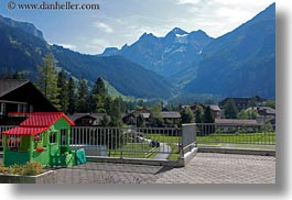 europe, horizontal, houses, mountains, play, switzerland, photograph