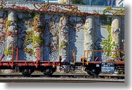 cars, europe, horizontal, ivy, switzerland, trains, photograph