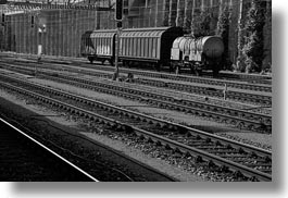 black and white, europe, horizontal, switzerland, tracks, trains, photograph