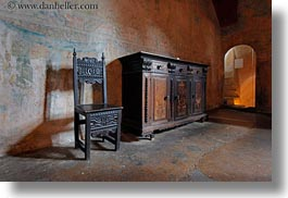cabinet, chairs, chateau de chillon, europe, horizontal, montreaux, switzerland, woods, photograph