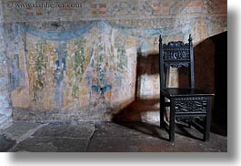 chairs, chateau de chillon, europe, horizontal, montreaux, switzerland, photograph