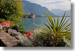 castles, chateau de chillon, chillon, europe, horizontal, montreaux, plants, switzerland, photograph