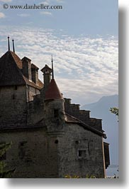 castles, chateau de chillon, chillon, clouds, europe, montreaux, nature, silhouettes, sky, switzerland, vertical, photograph