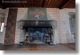 chateau de chillon, europe, fireplace, horizontal, montreaux, switzerland, photograph